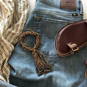 Jewelry - Gold Beaded Multi-Strand Tassel Stretch Bracelet